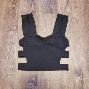 Tops - SEXY STRAPPY CUT OUT RUCHED CROP TANK TOP SMALL